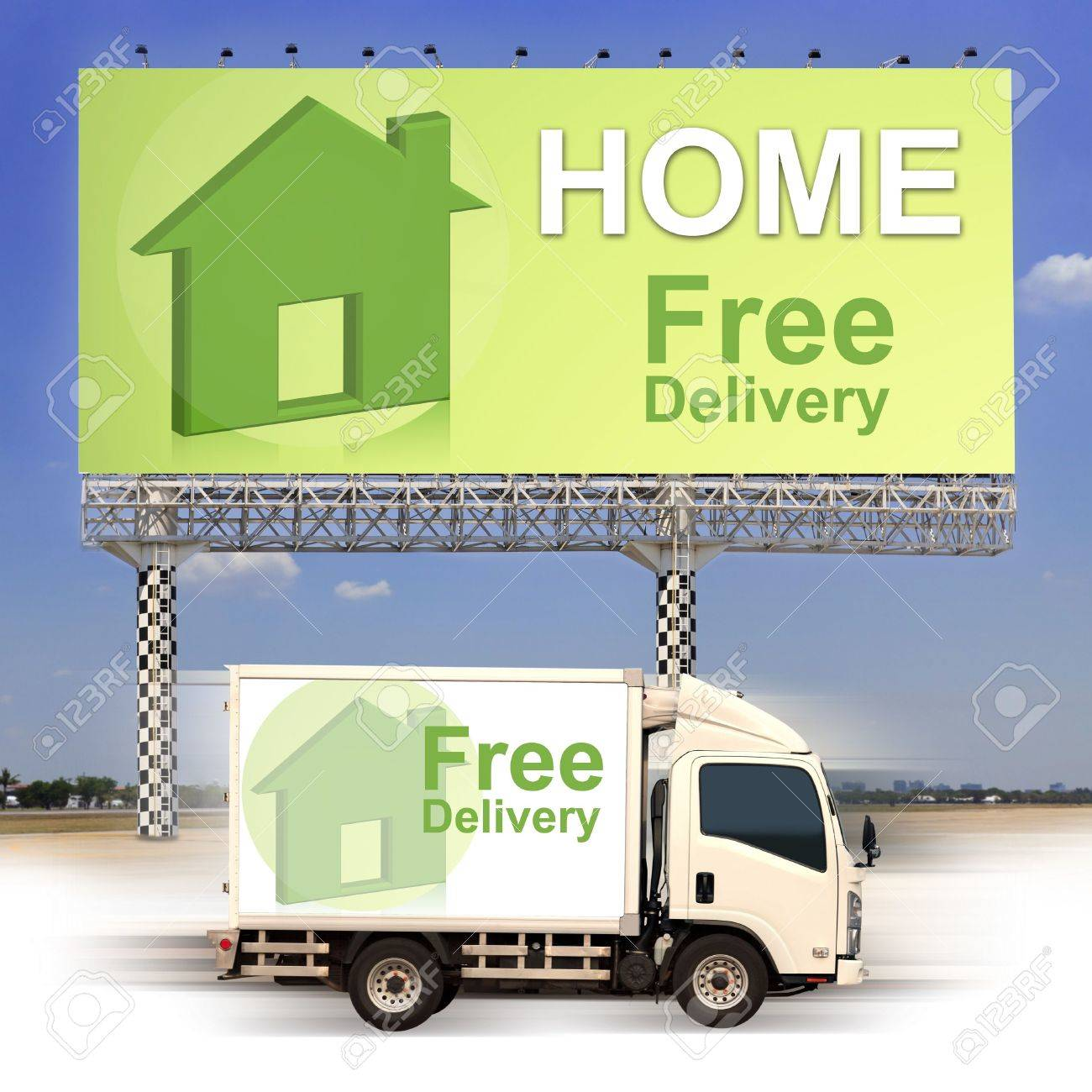 White van with Free delivery and large outdoor billboard Stock Photo - 19185432