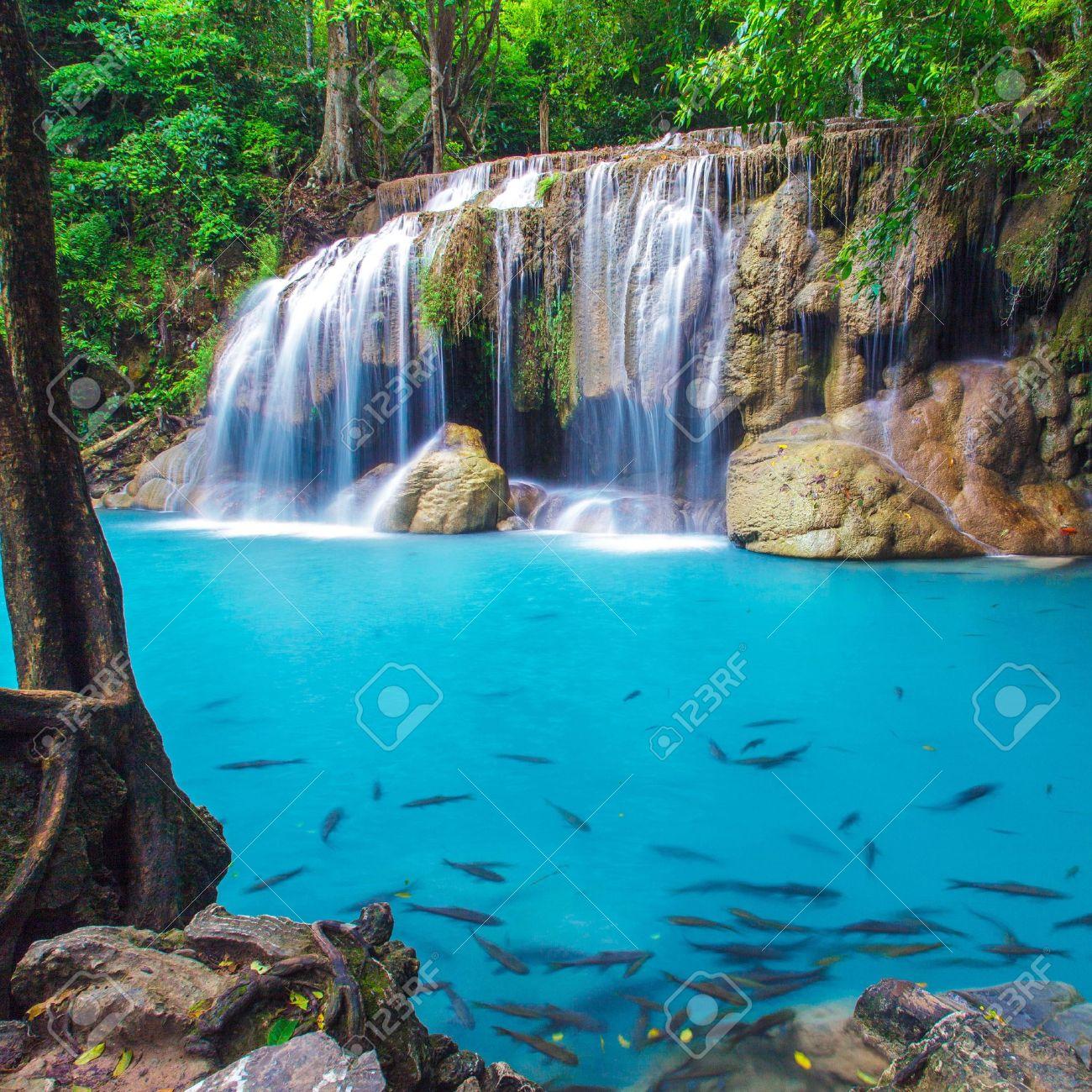 深い森エラワンの滝、カンチャナブリ、タイ の写真素材・画像素材 ...
