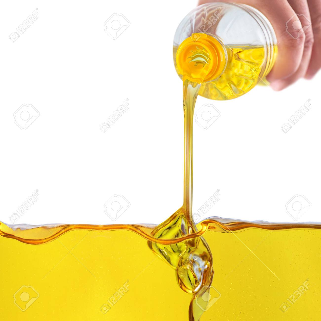 Vegetable oil pouring on vegetable oil background - 61836755