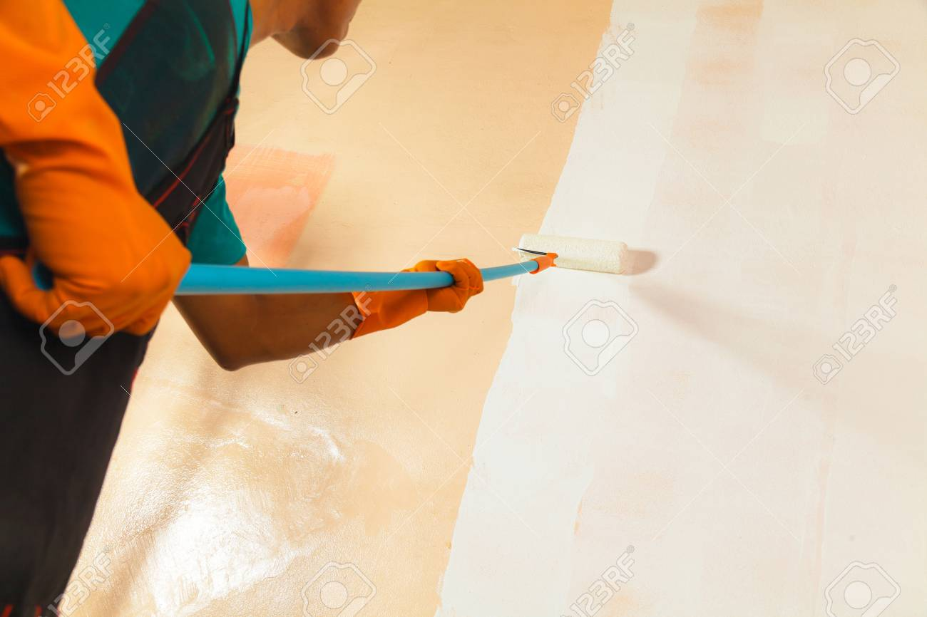 Painter Painting The Walls White In House Stock Photo, Picture And ...