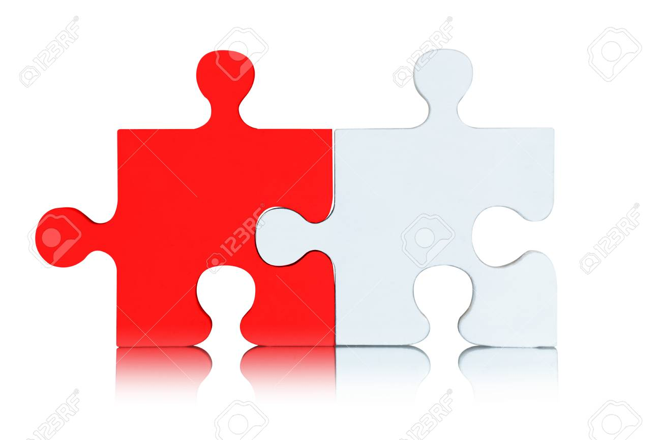 Puzzle pieces on white background - 81549515