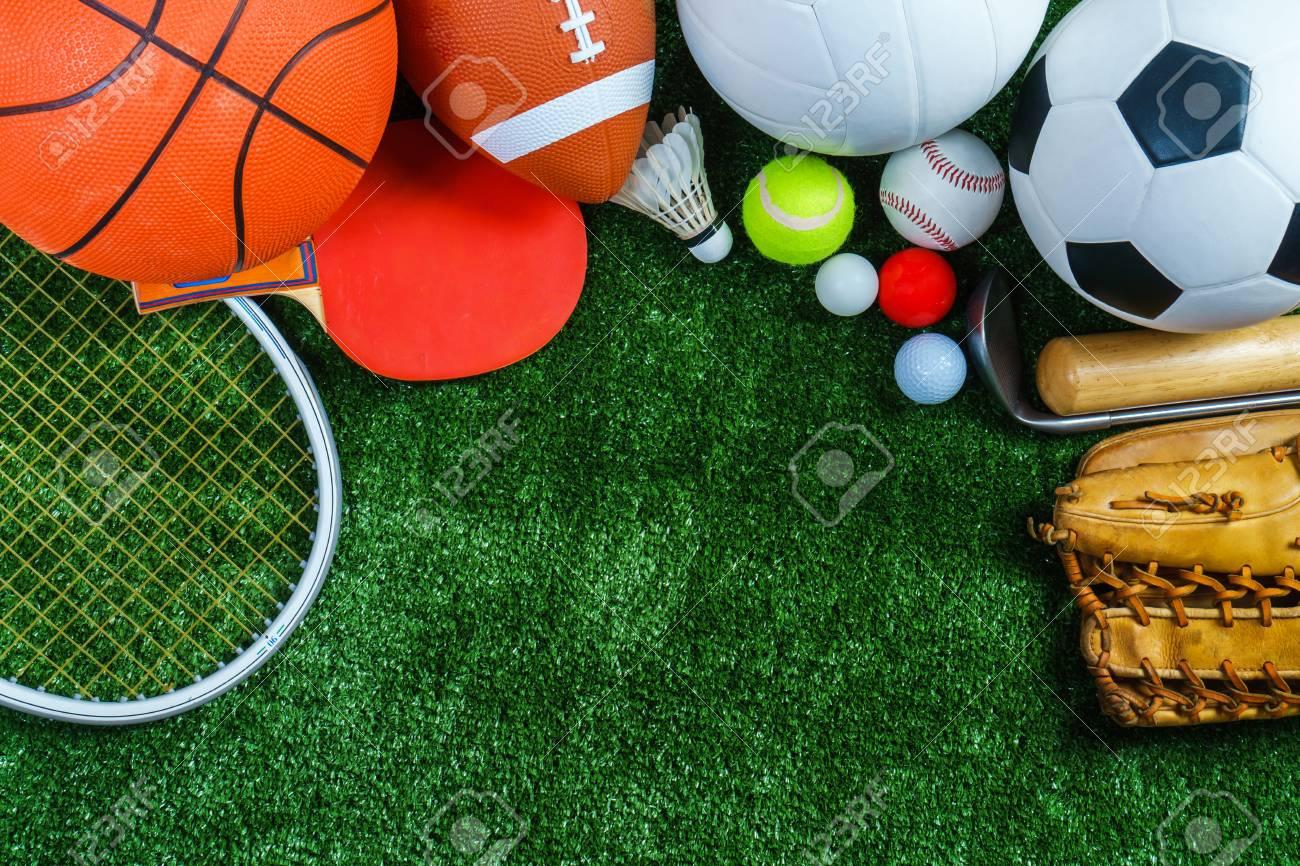 Sports Equipment on green grass, Top view - 92757329