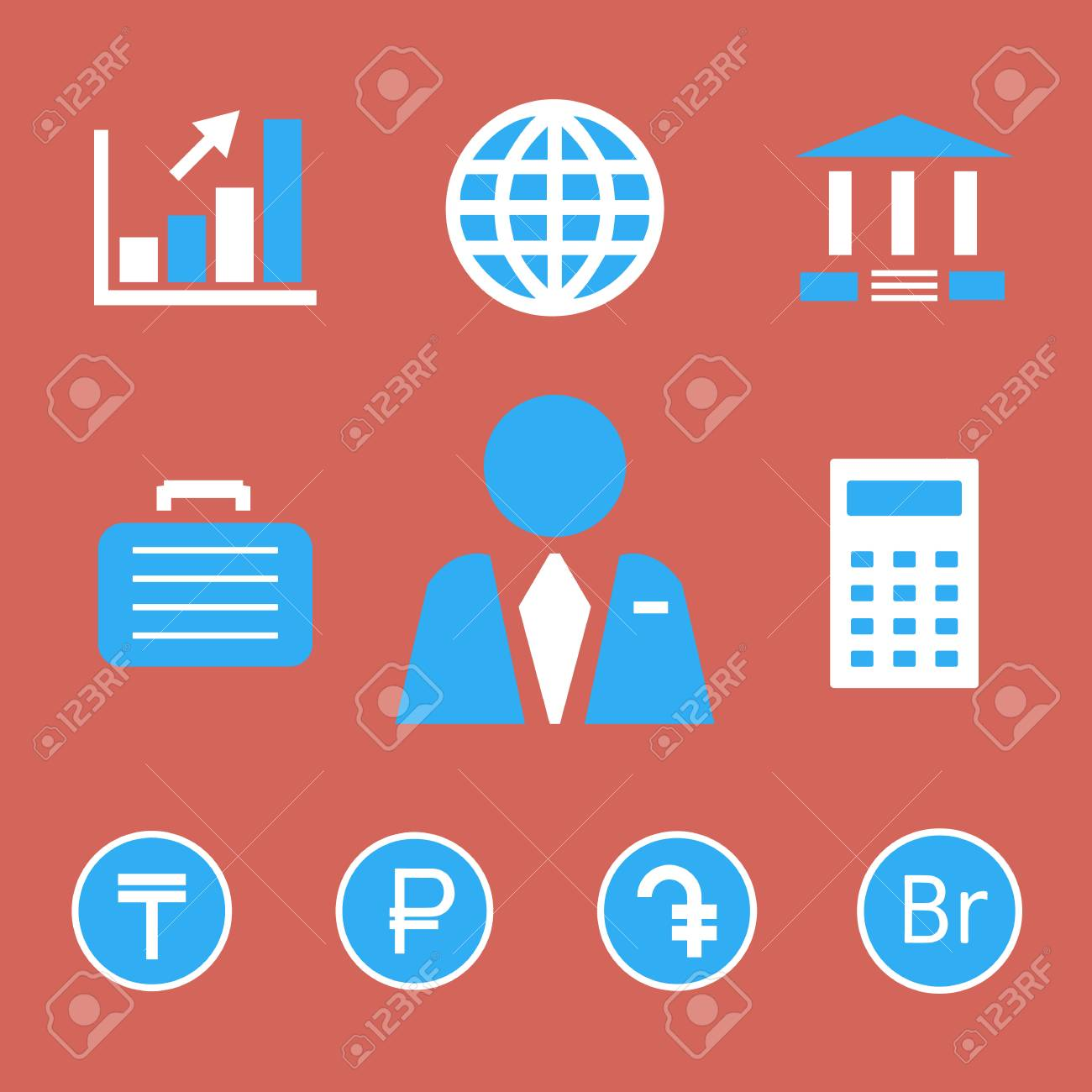 Finance And Bank Icons With Currency Symbols Of Tenge Russian