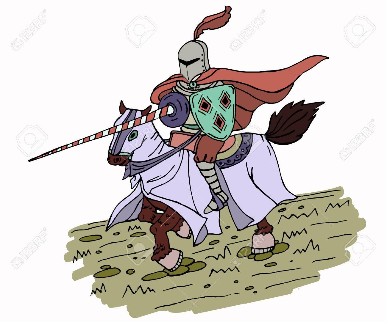 Caballero Medieval De La Lanza En Caballo. Ilustración Vectorial ...
