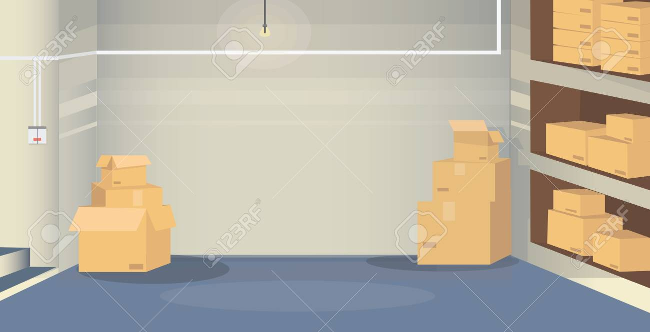 Illustration of a warehouse room with boxes situated in basement. Background scene for your design project. - 126209061