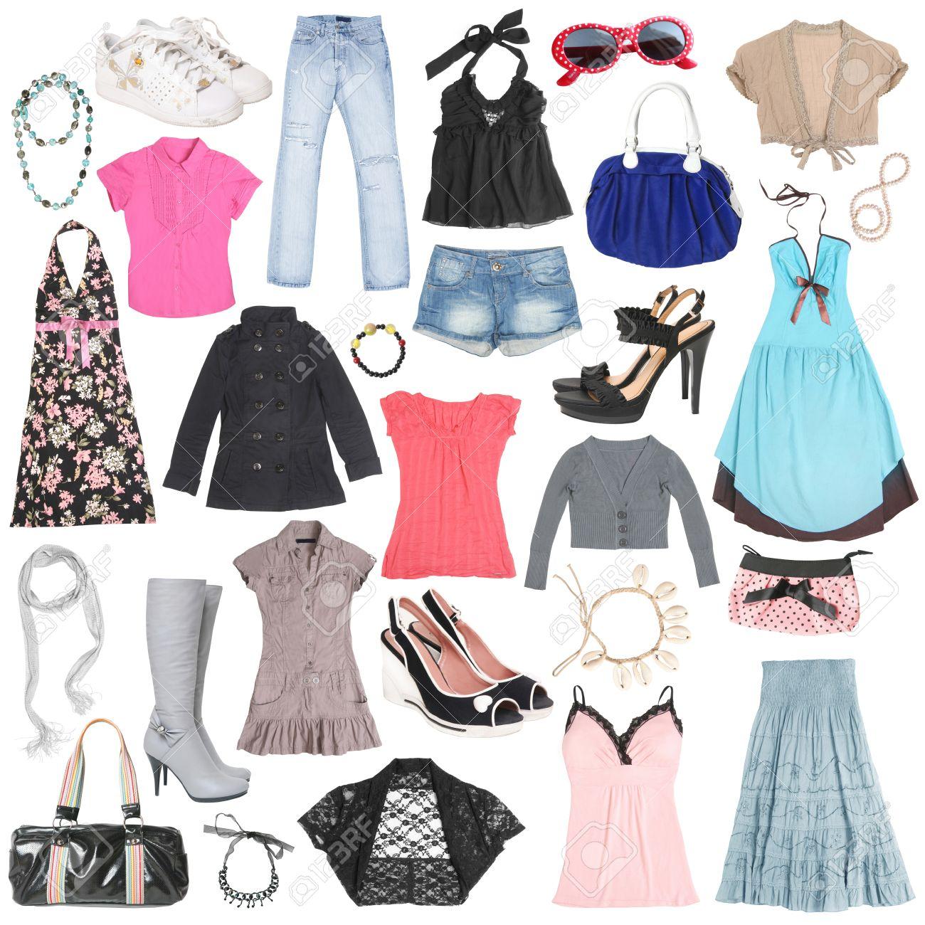 Ropa para mujeres diferente, zapatos y accesorios.  2 Foto de archivo ,  10540253