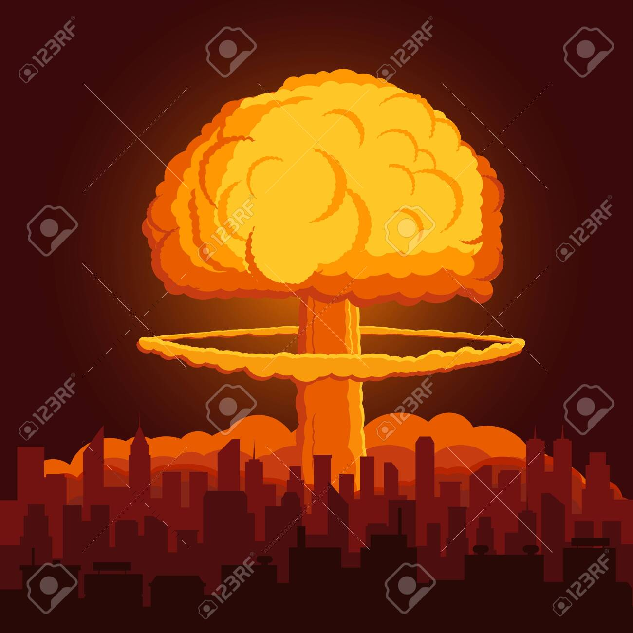 illustration with atomic explosion cloud above city. - 135557464