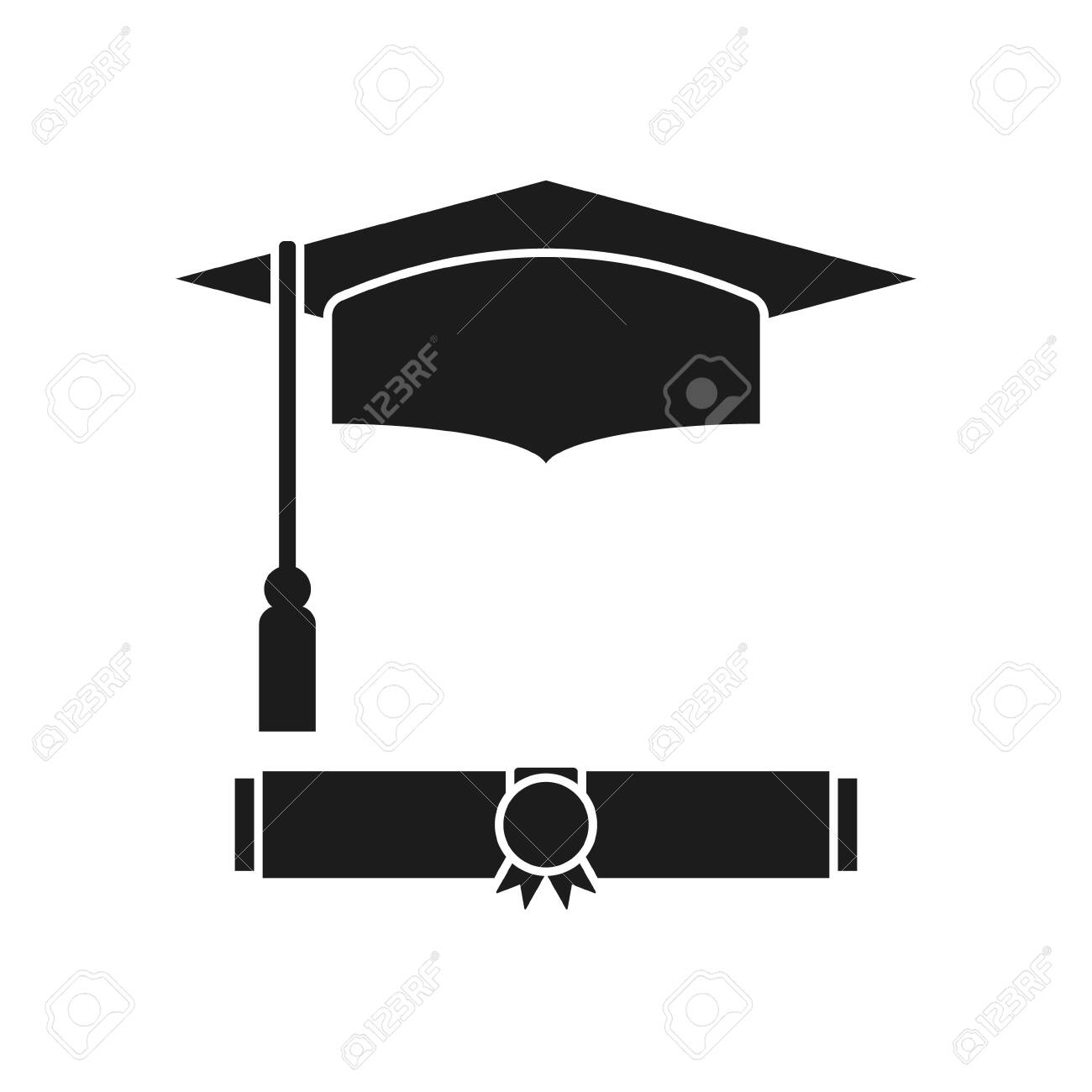 Vector illstration diploma icon. Flat design. Isolated. - 139758281