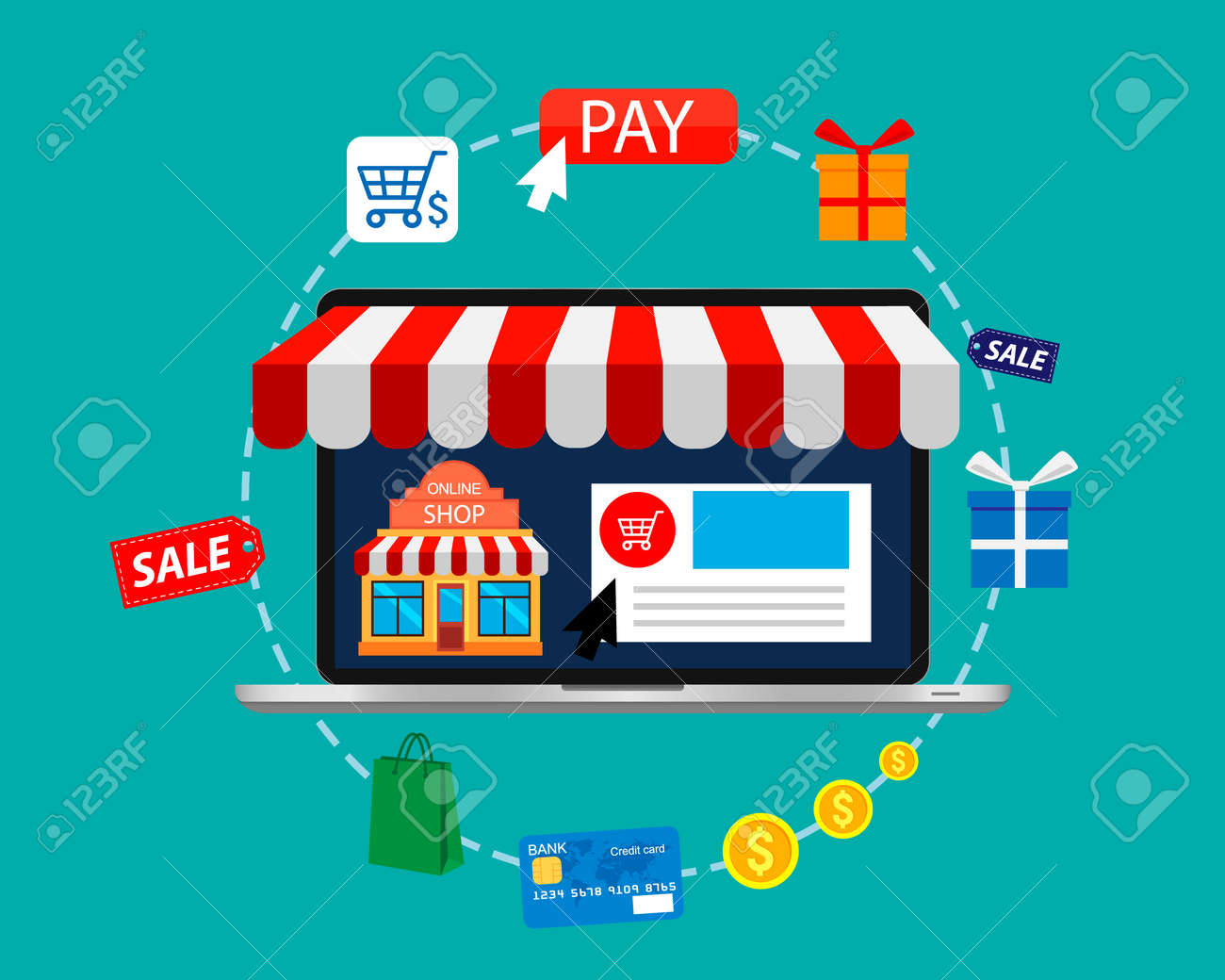 Online shopping. E-commerce pay and online shopping. Mobile shopping concept. Vector illustration. - 159881200