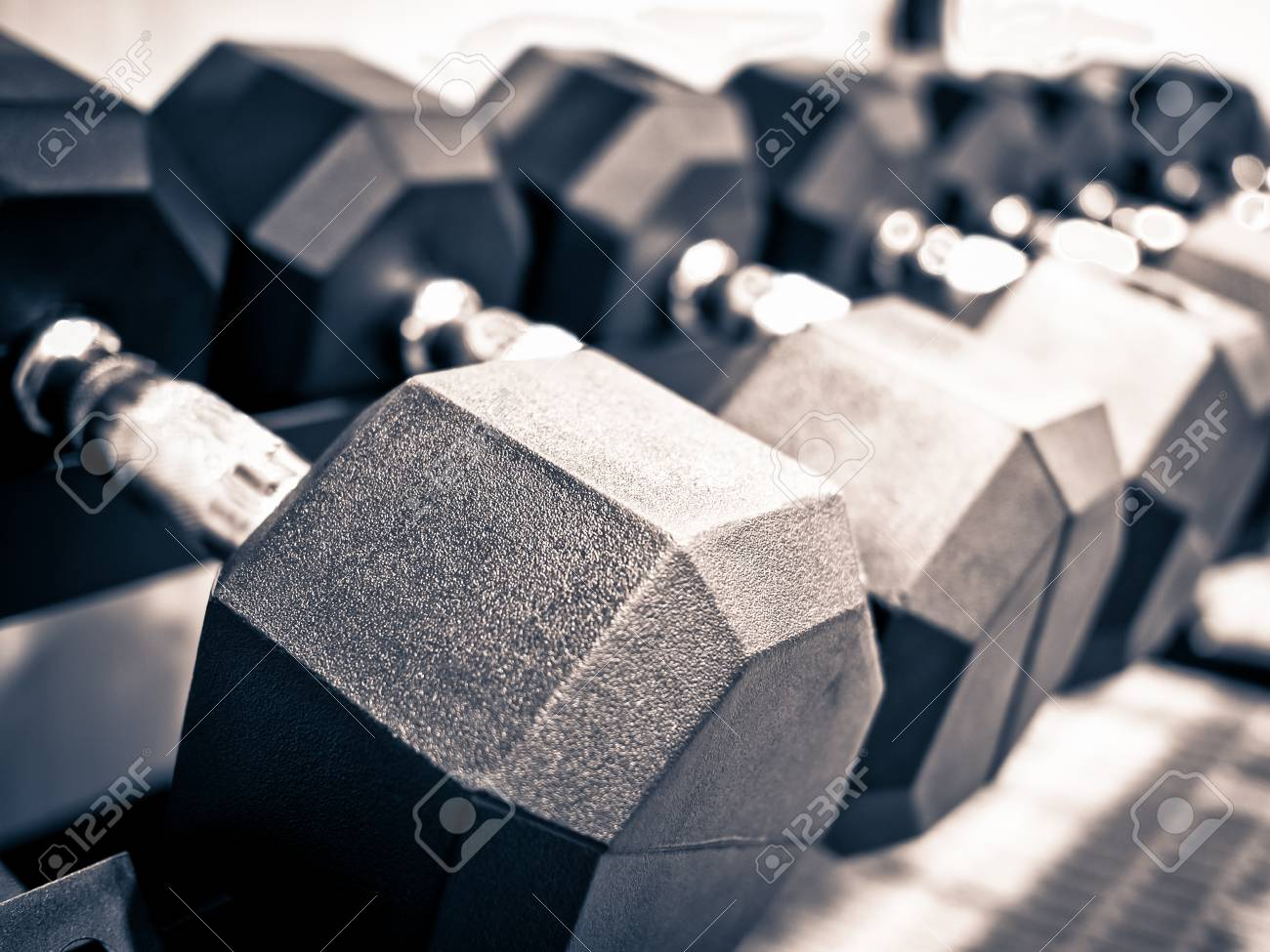Rack Of Hand Free Weight Dumbbells At A Healthclub Gym Stock Photo Picture And Royalty Free Image Image 77878989