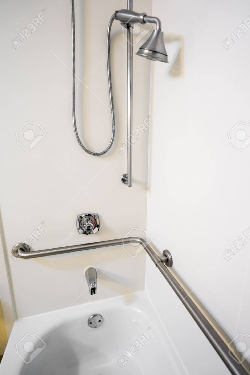Disabled Access Bathtub Shower With Grab Bar Hand Rails Stock Photo    77878057