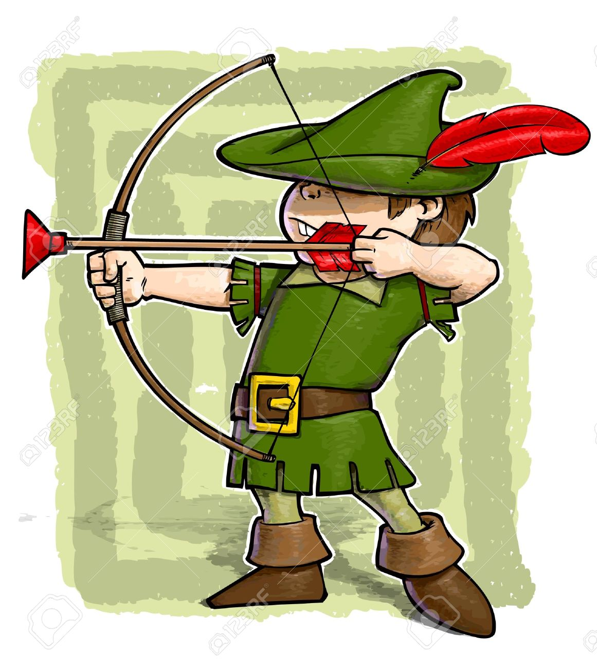 A grunge illustration of a boy with a bow and arrow dressed as Robin Hood Stock Vector - 12290336