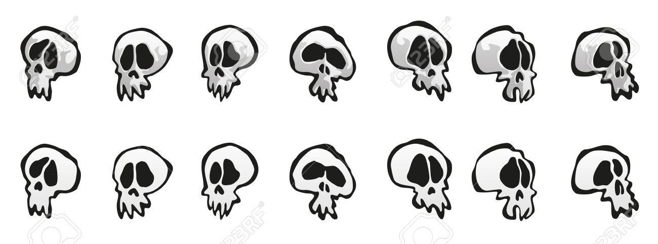 Seven Simple comic-like but kind of spooky as well skulls with and without shadow... Stock Vector - 12290217