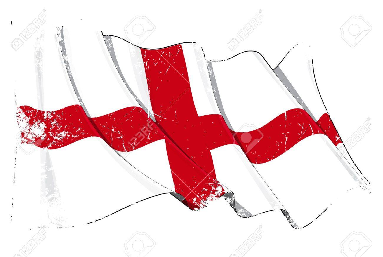 Waving English flag under a grunge texture layer Stock Vector - 14371247