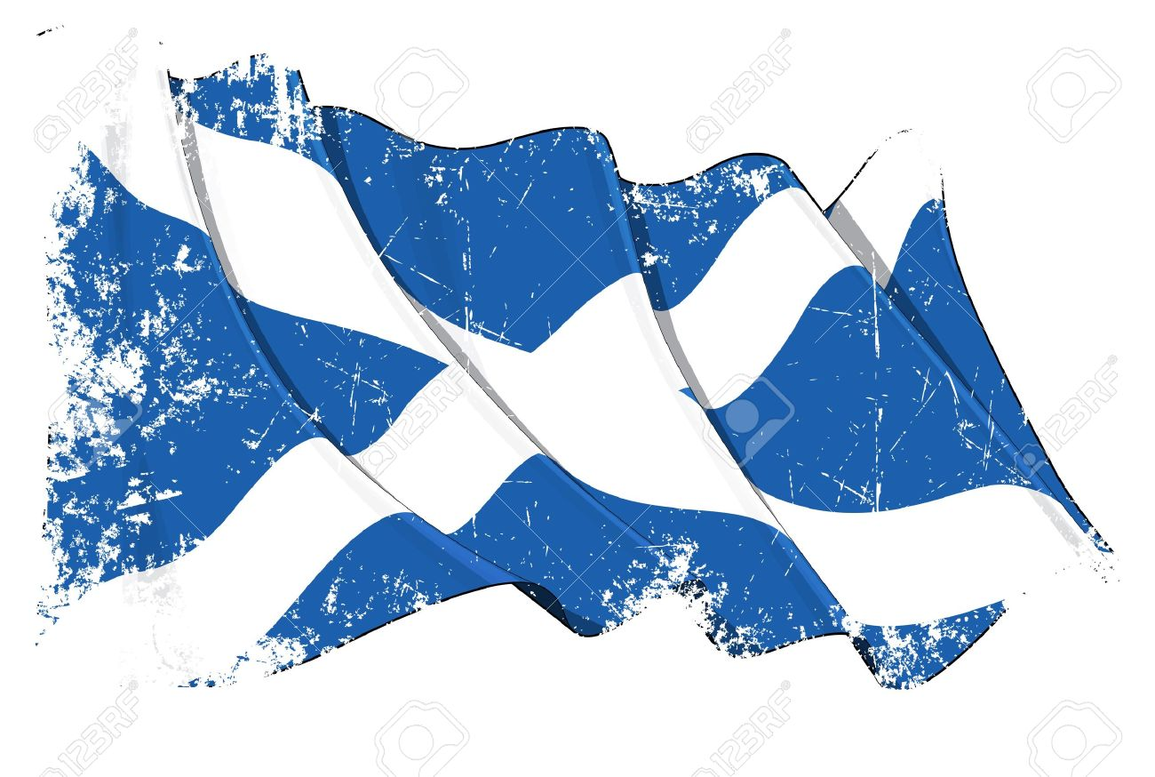 Waving Scotch flag under a grunge texture layer Stock Vector - 14371267