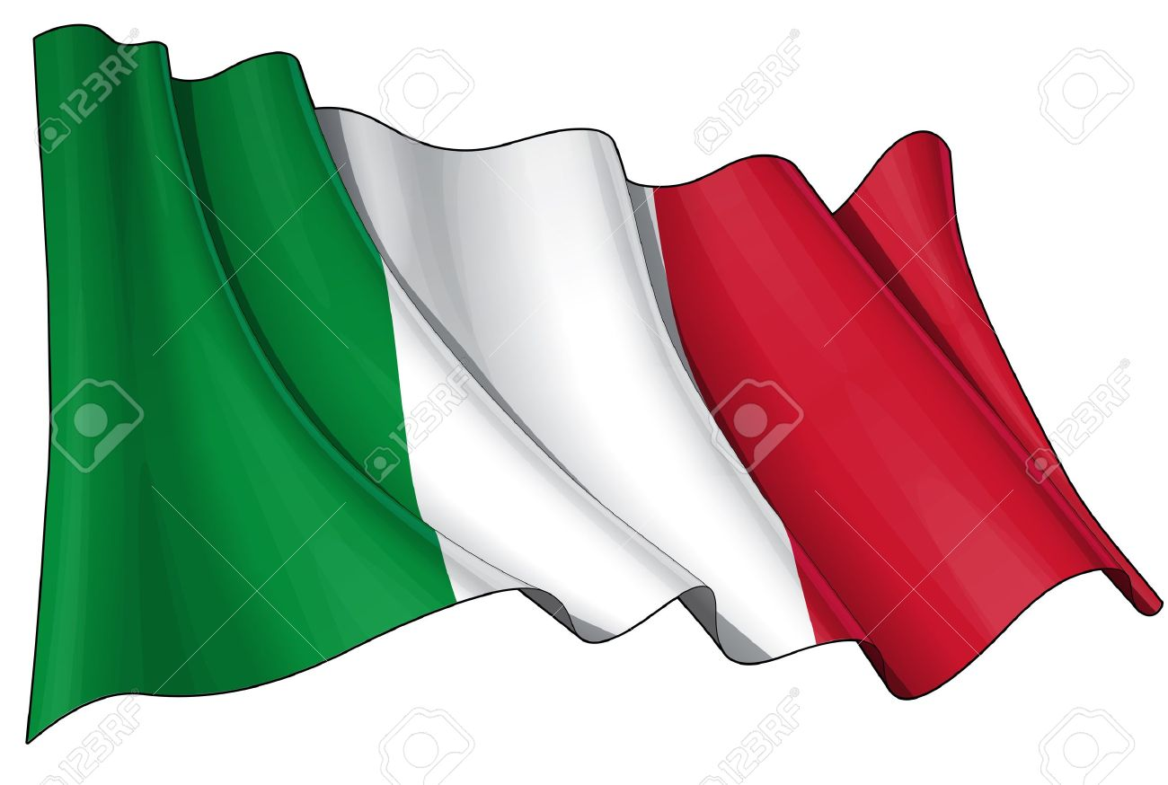 Waving Italian flag - EPS v 10 File and a 6800 x 4500 pxl with clipping path Preview JPG - Transparency is used on the shading layers Stock Vector - 14446123