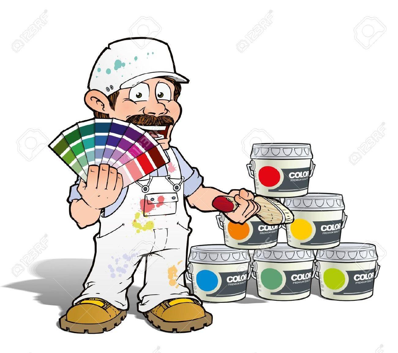 Handyman - Colour Picking Painter - White Stock Photo - 19981611