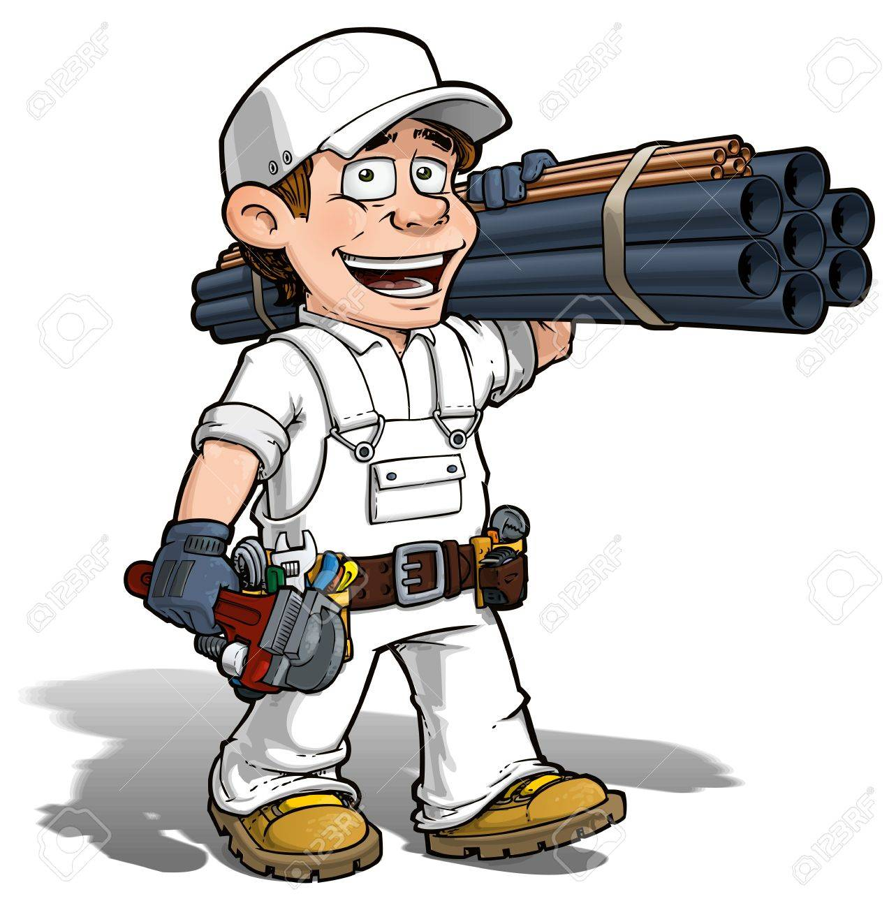 Cartoon Illustration Of A Handyman - Plumber Carrying Pipes And ...