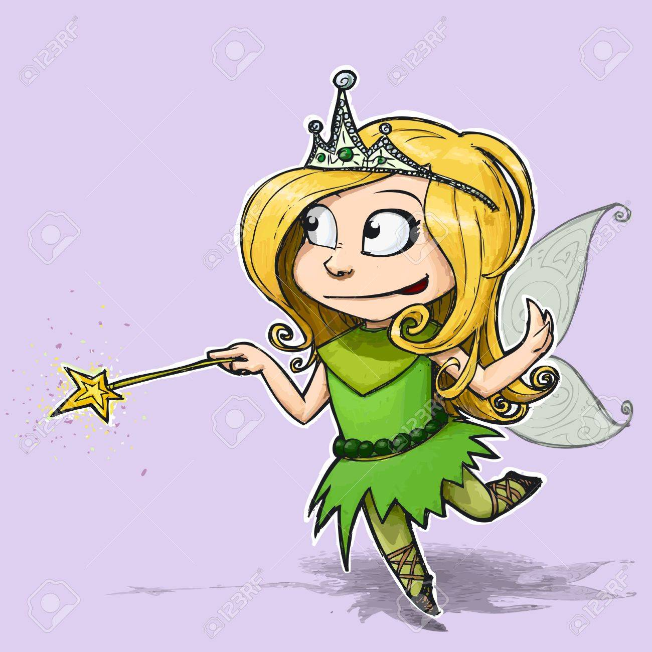 Cartoon Illustration of a girl dressed as a Fairy Stock Illustration - 20151547