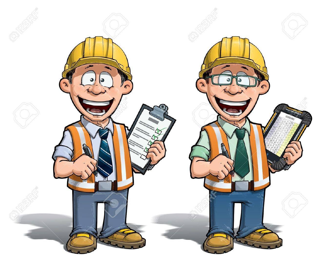cartoon illustration of a construction worker supervisor checking