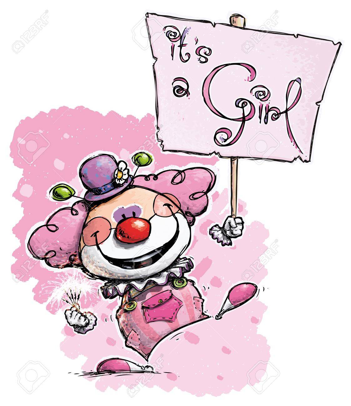 Cartoon Artistic illustration of a Clown Hoding an It Stock Vector - 21736075
