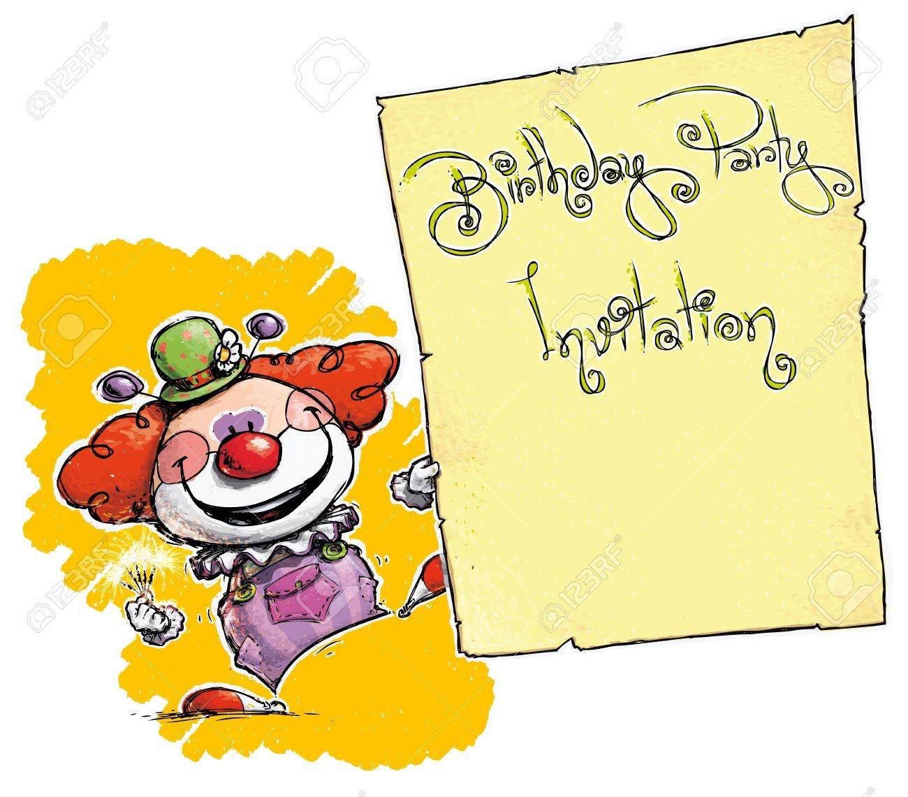Cartoon/Artistic illustration of a Clown a Birthday Party Invitation Stock Vector - 21934989