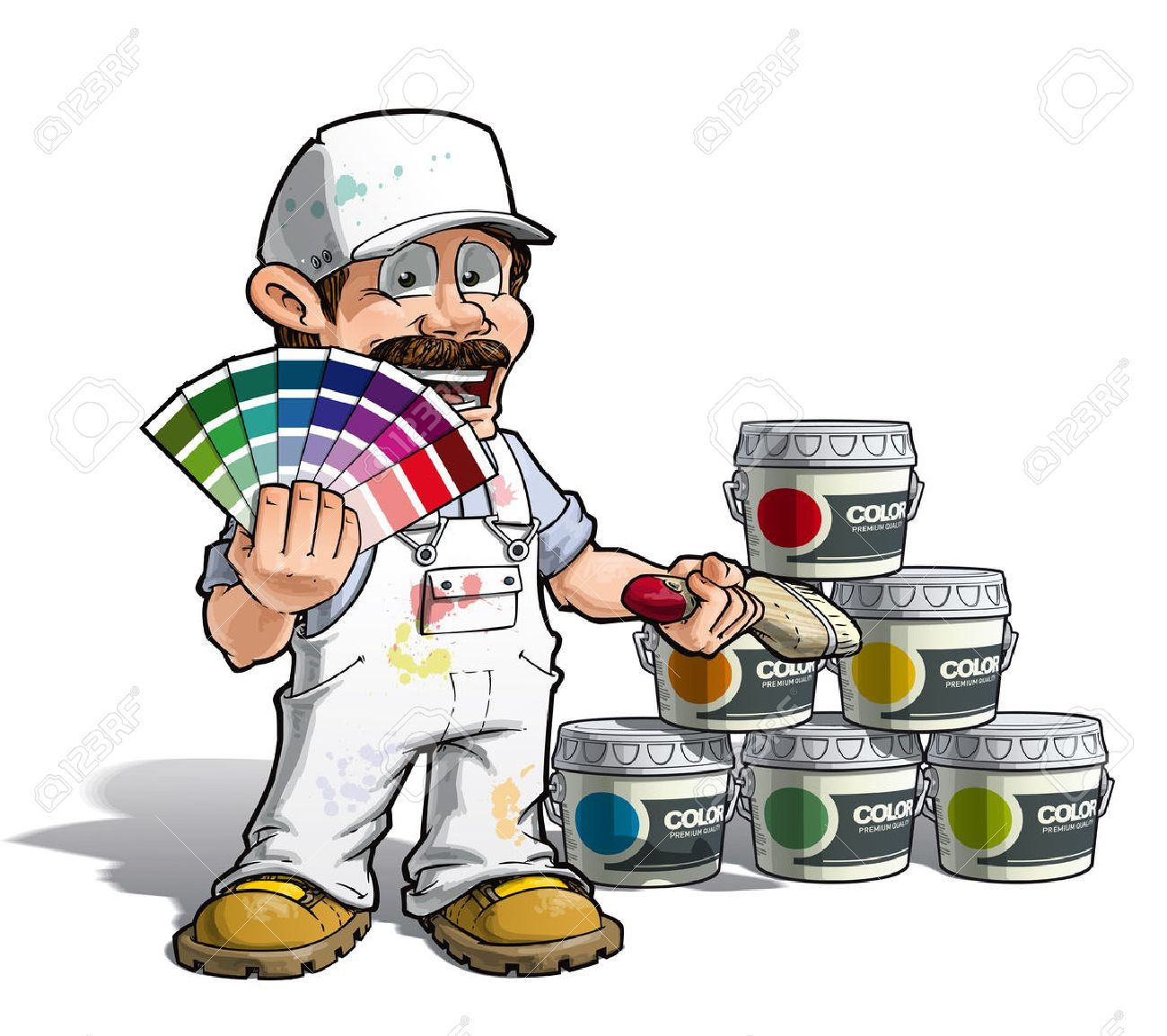 Maler und lackierer clipart  Cartoon Illustration Eines Bauarbeiters / Handwerker Maler Hält ...