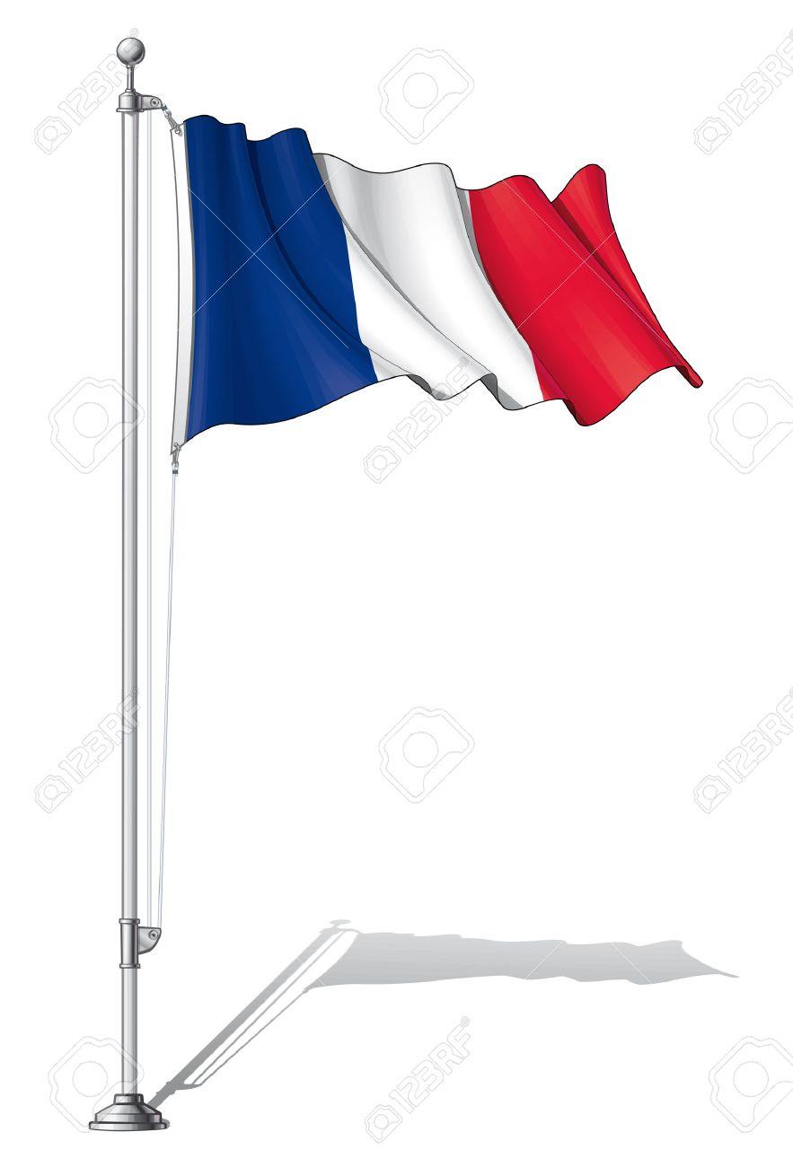 Özgüven geliştirmenin 10 altın kuralı! 28025564-Illustration-of-a-waving-France-flag-fasten-on-a-flag-pole-Stock-Vector