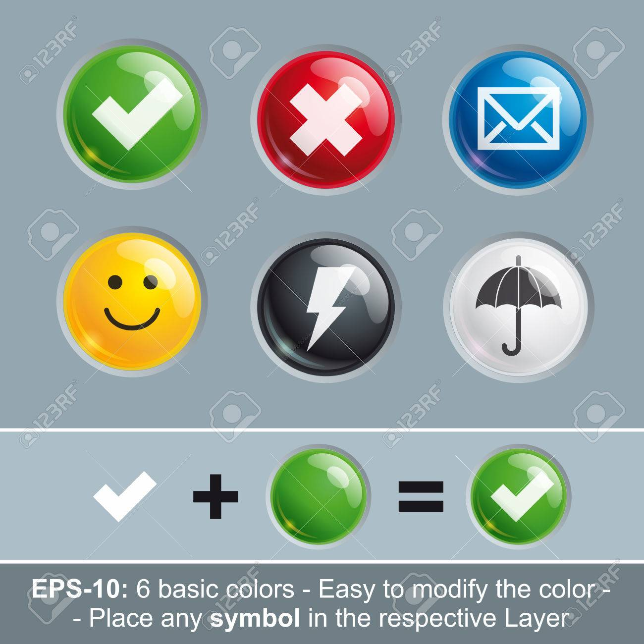 Set Of Vector Icon Buttons In Six Basic Colors. Icon\'s Light ...