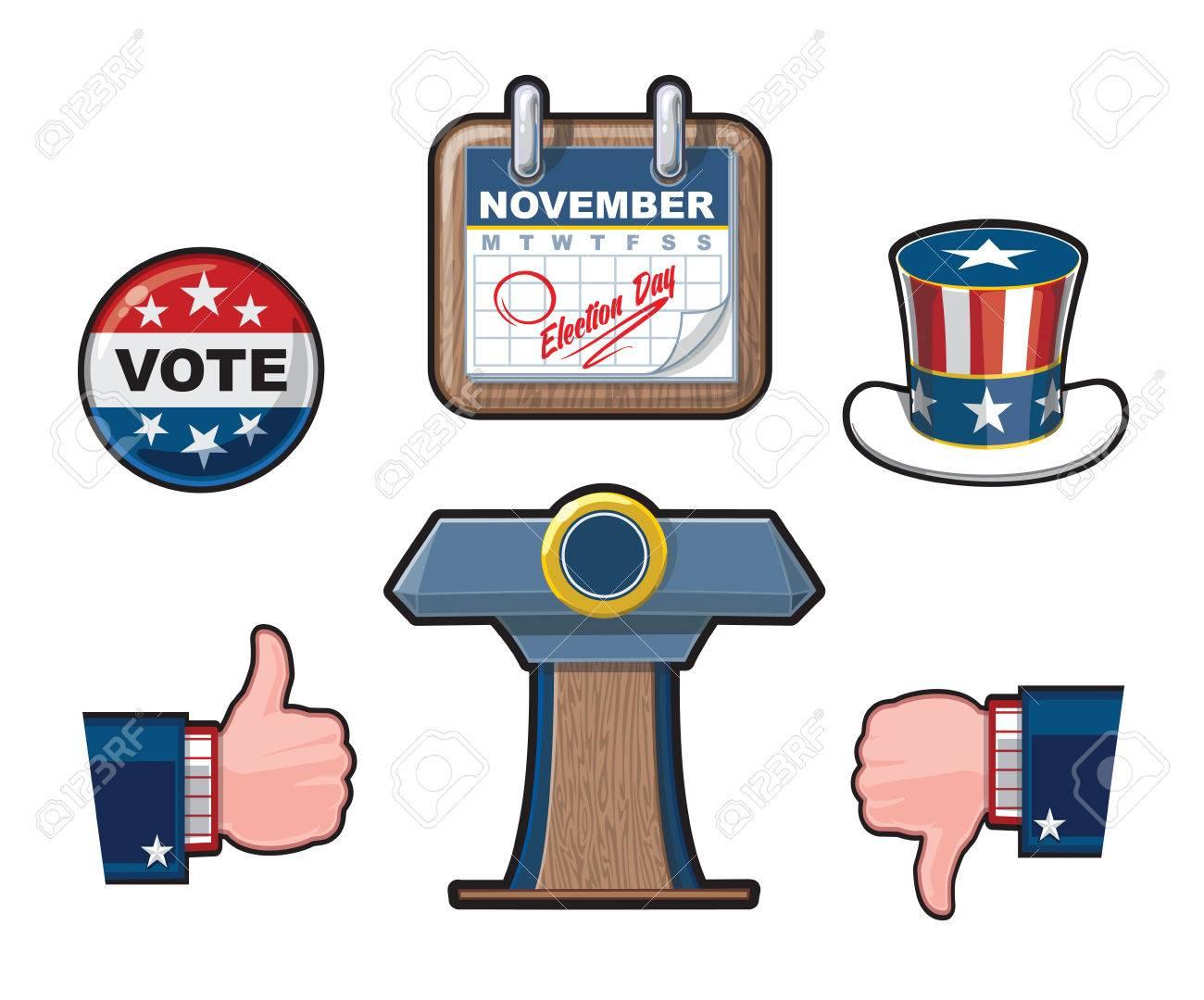Sechs Sehr Detaillierte Amerikanische Wahlen Vector Icon Set. Es ...