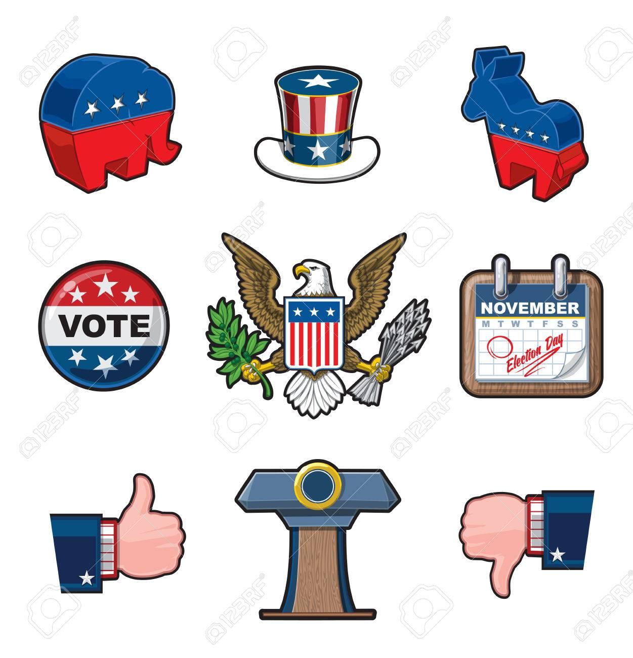 Establece Las Elecciones Estadounidenses Del Icono Del Vector ...