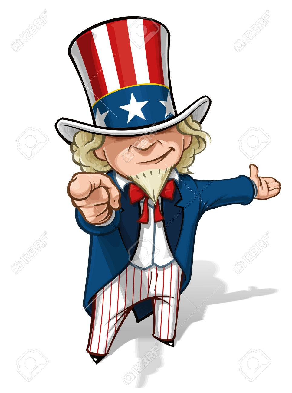 clean cut overview cartoon illustration of uncle sam pointing rh 123rf com
