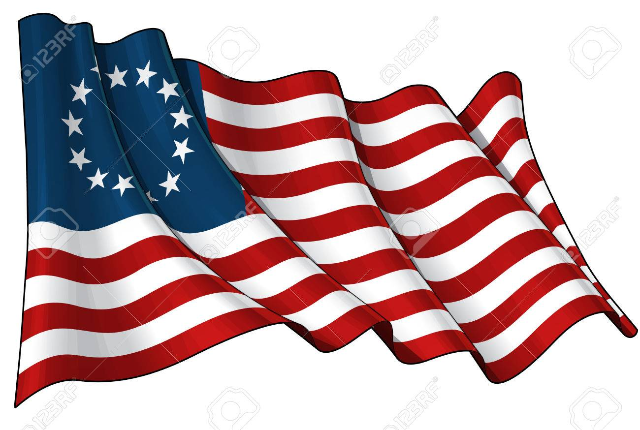 Vector Illustration of an American Betsy Ross waving flag. - 79500611