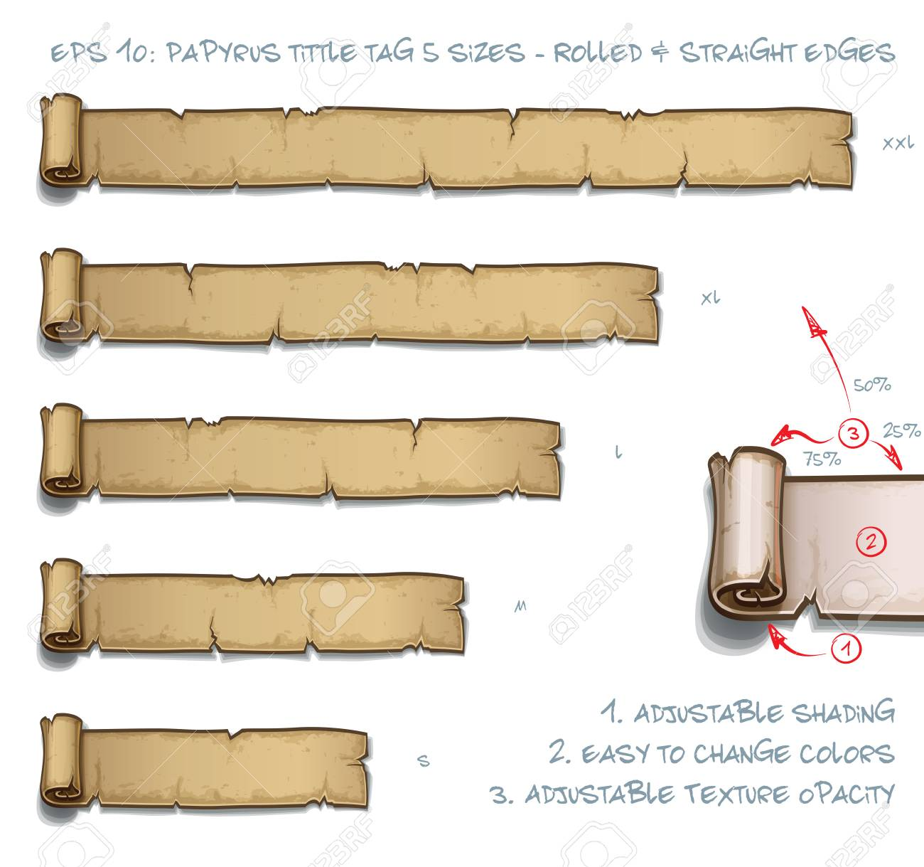 Vector Illustration of a Papyrus Tittle Scroll Tag with Rolled and Straight Edges. Set of five sizes Small Medium Large and two Extra Large. All elements neatly on well-defined Layers and Groups - 112273807