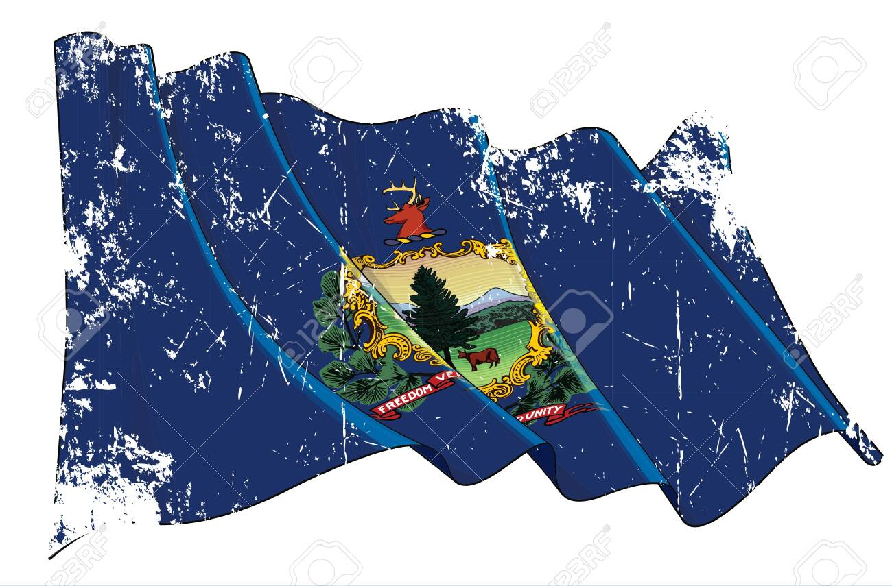 Vector Textured Grunge illustration of a Waving Flag of the State of Vermont. All elements neatly on well-defined layers and groups. - 124139213