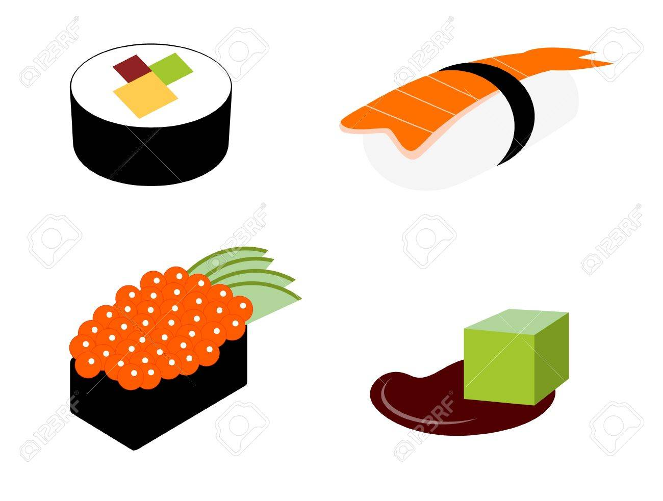 Sushi rolls set with wasabi Stock Vector - 15757398