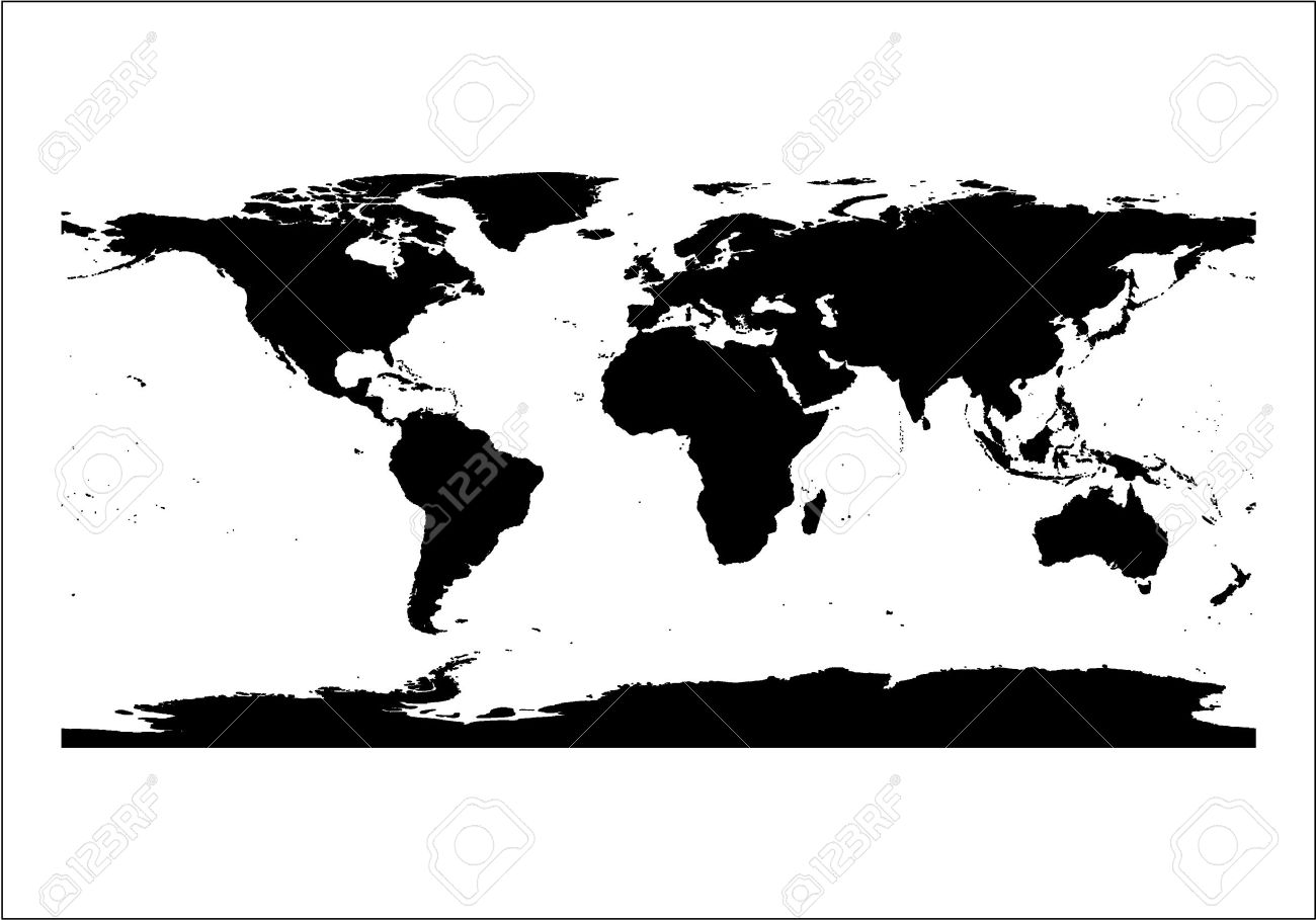 Black Silhouette World Map Isolated In White Background Stock Vector    2339770