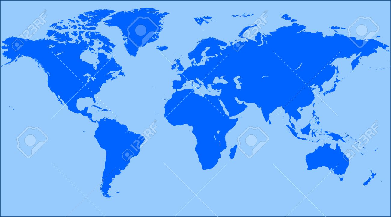 Blue World Map Blank World Map Vector Royalty Free Cliparts