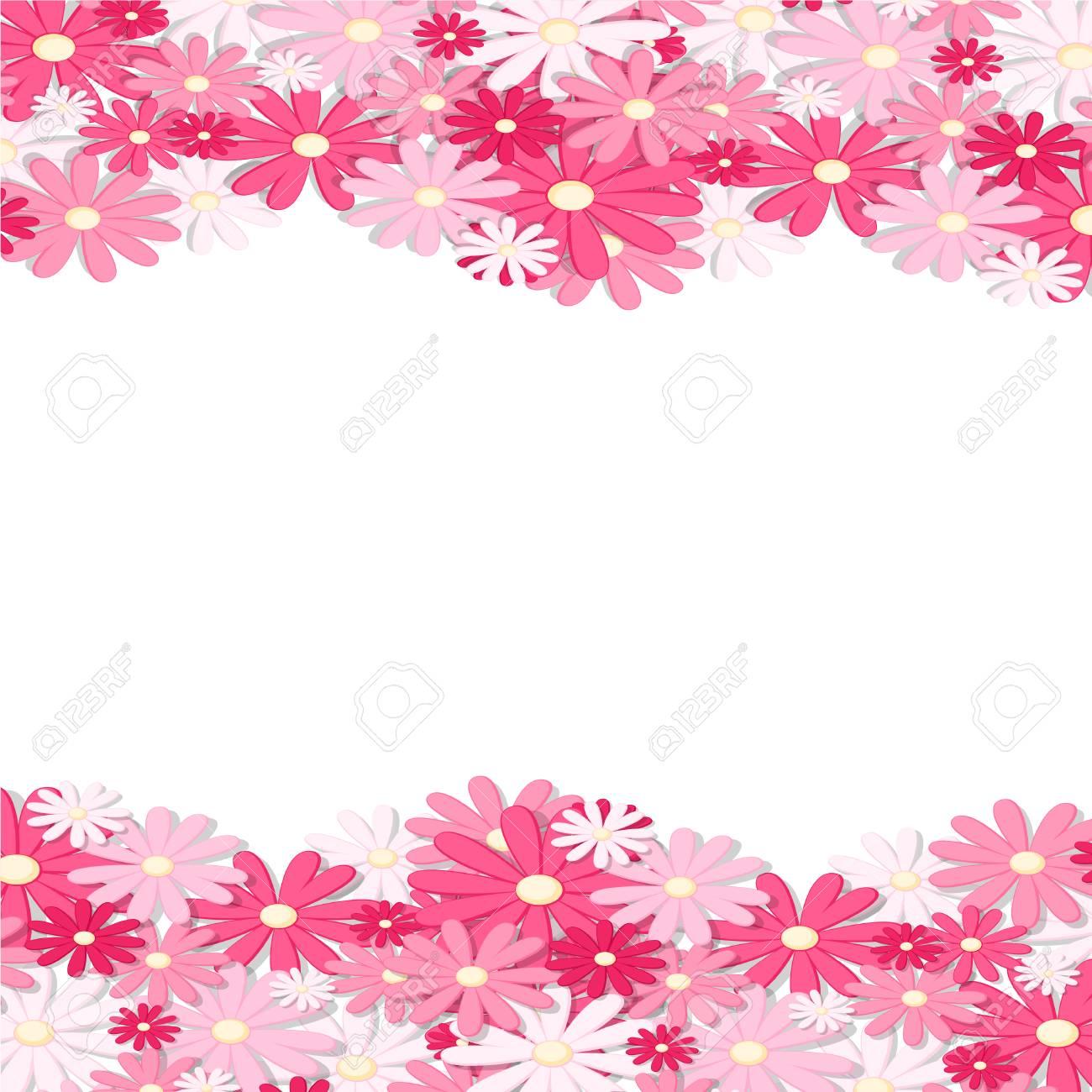 Pink Flower Border Elegant Vintage Card Design Floral Wallpaper