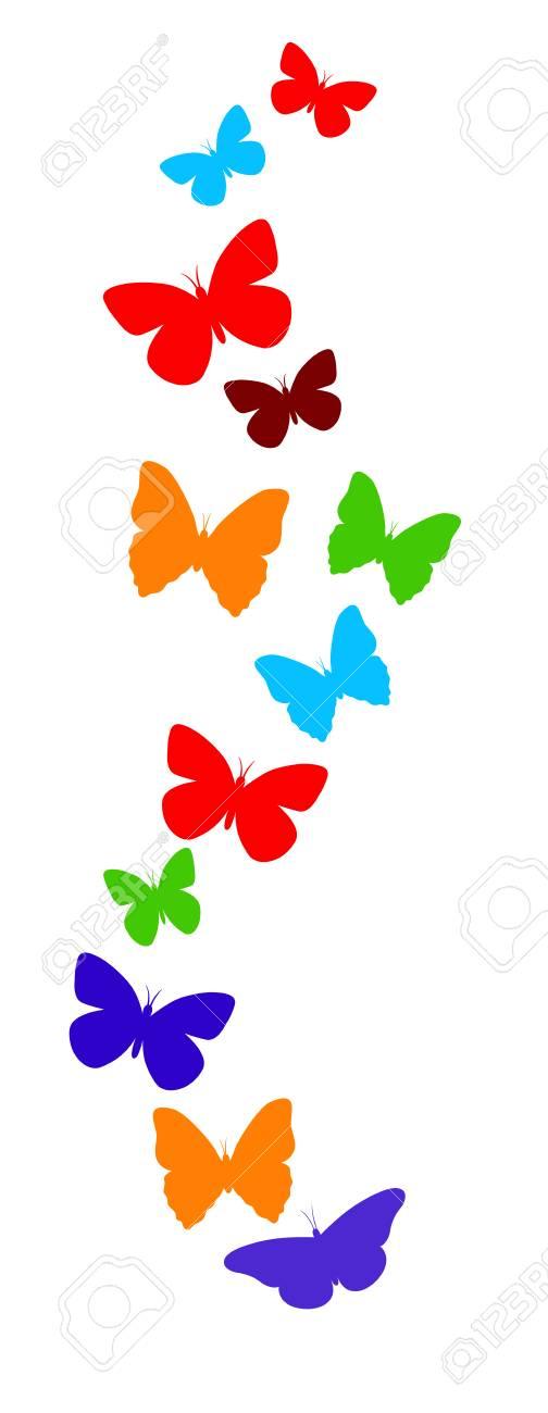 La Primavera De La Mariposa Colorida Composición. Ilustración ...