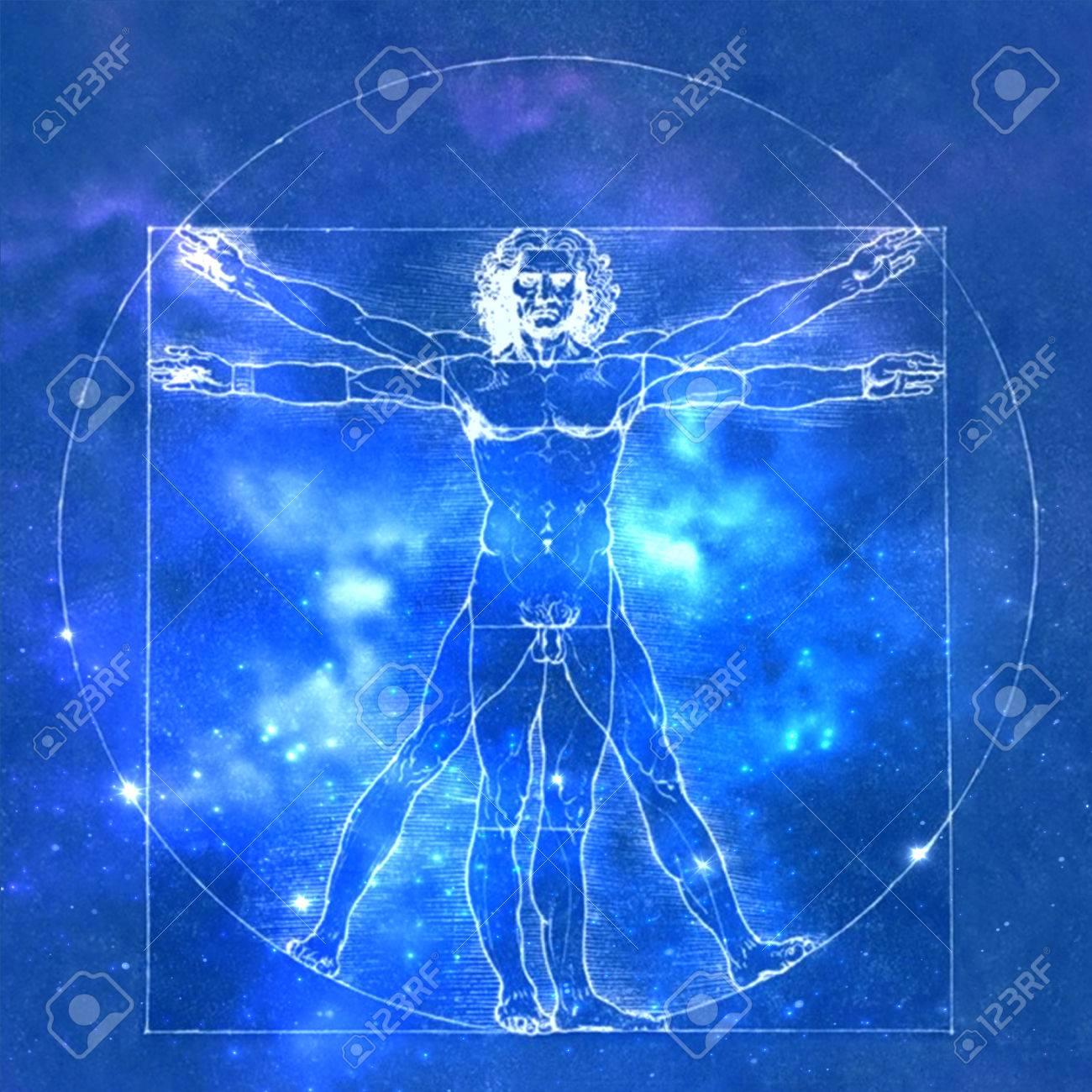 Leonardo Da Vinci Vetruvian Man, Human Anatomy. Cosmic Background ...