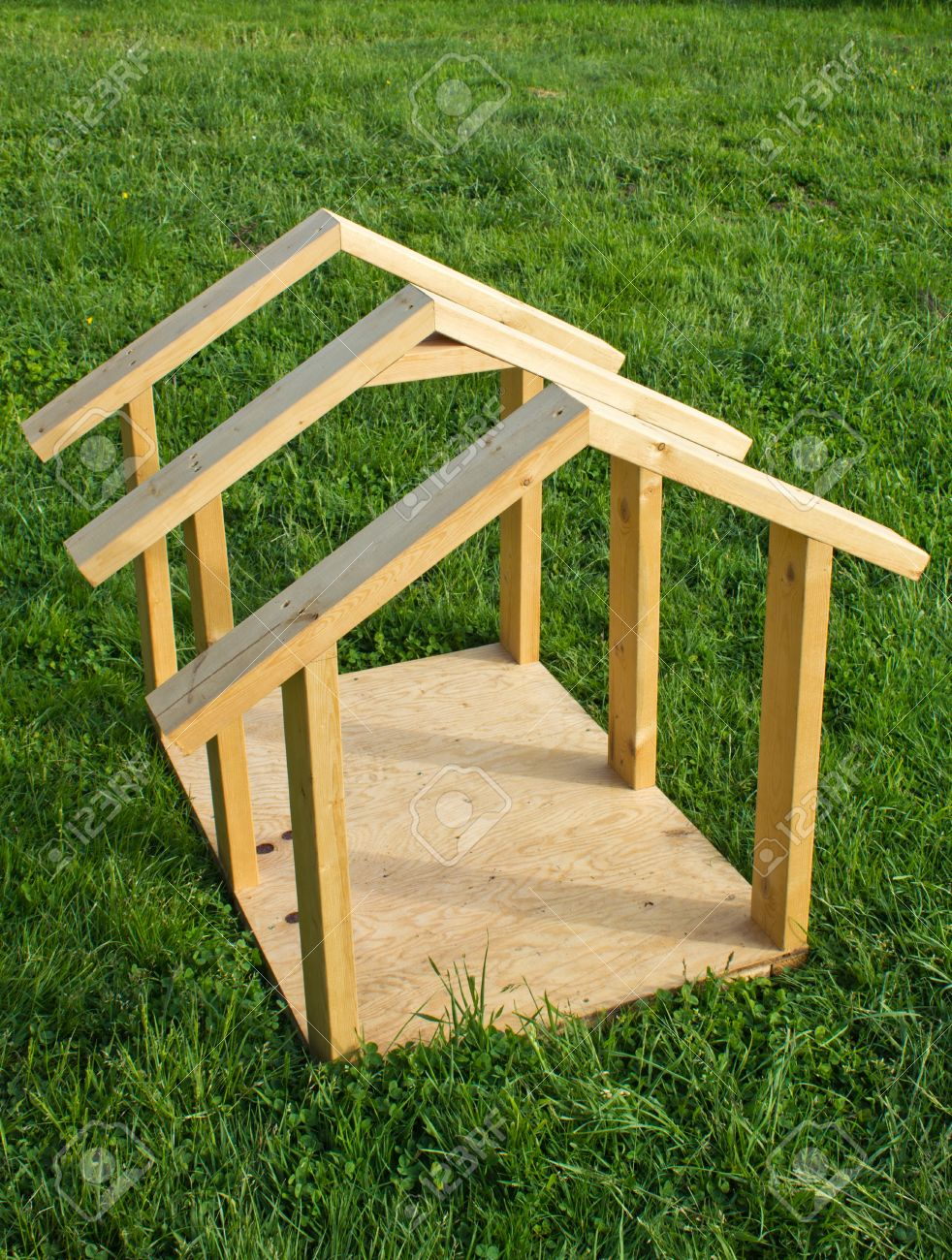 Building Small Dog House With Lumber, Frame Completed Stock Photo ...