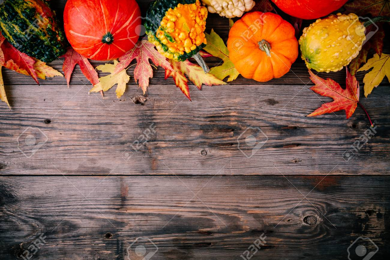Colorful Pumpkins And Fall Leaves On Wooden Background For Halloween