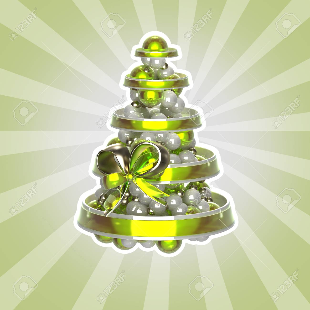 Shiny Christmas Tree Made Of Balls And Ribbons Isolated With A White Stroke Stock Photo