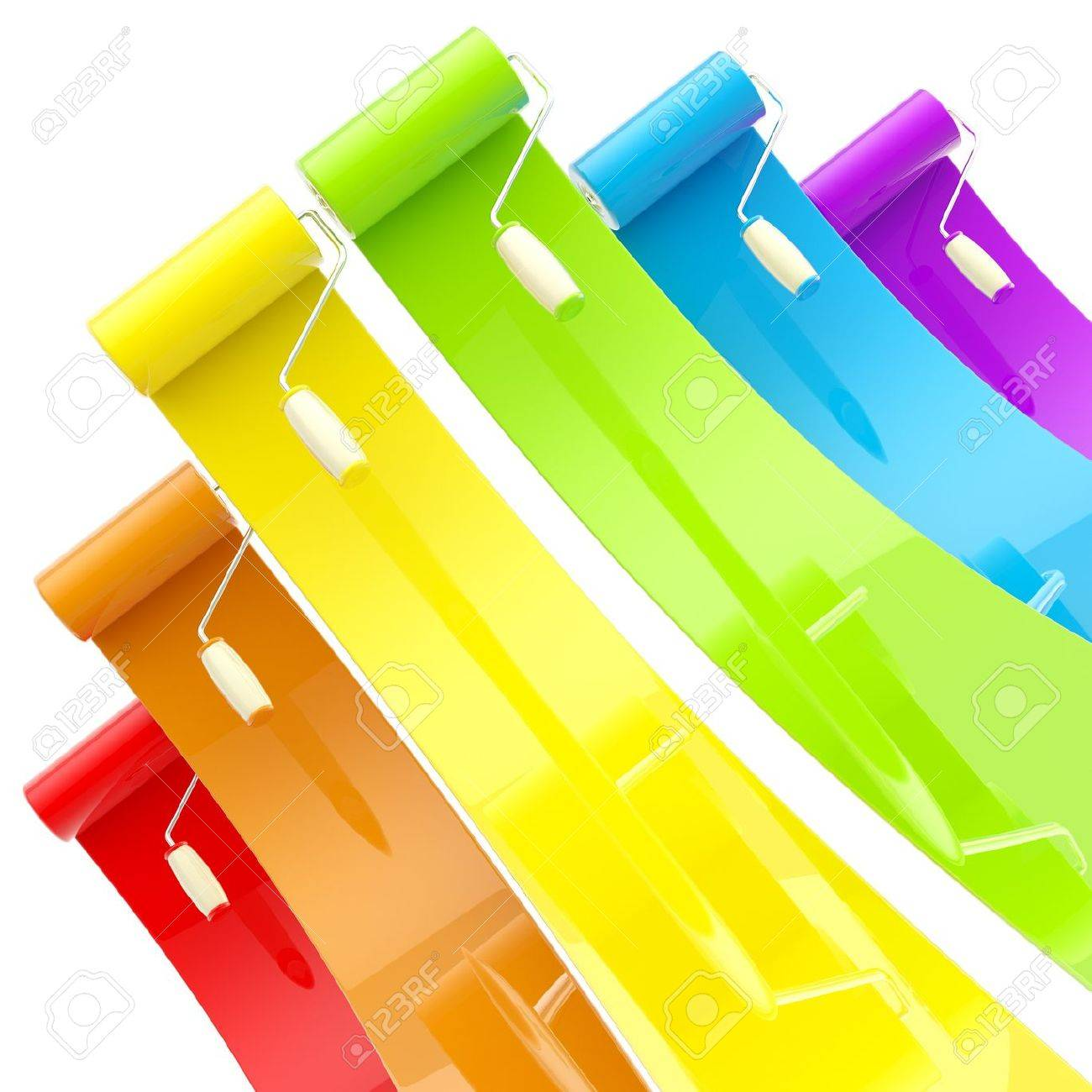 Colorful glossy paint rollers with color strokes Stock Photo - 12449280