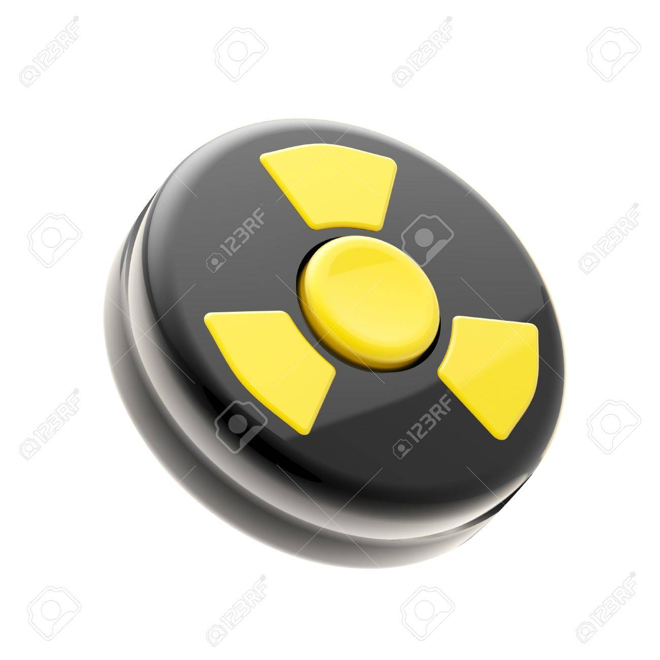 Black control panel with one yellow nuclear button Stock Photo - 12448803