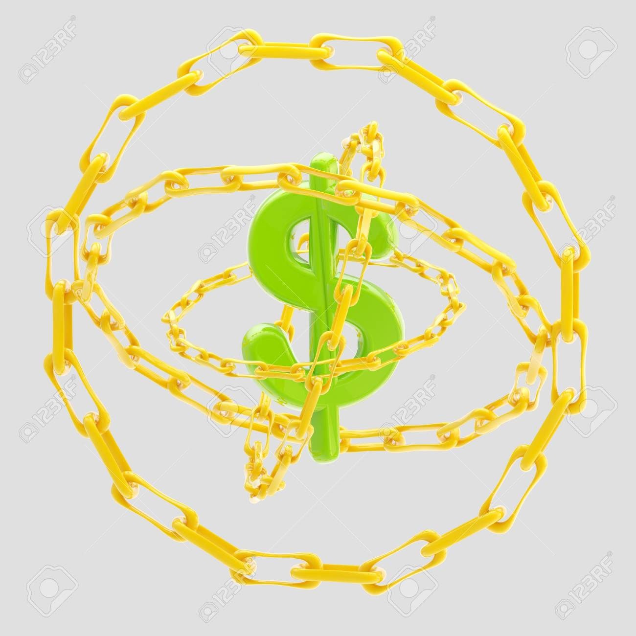 Dollar sign encircled with golden chains isolated Stock Photo - 13145313