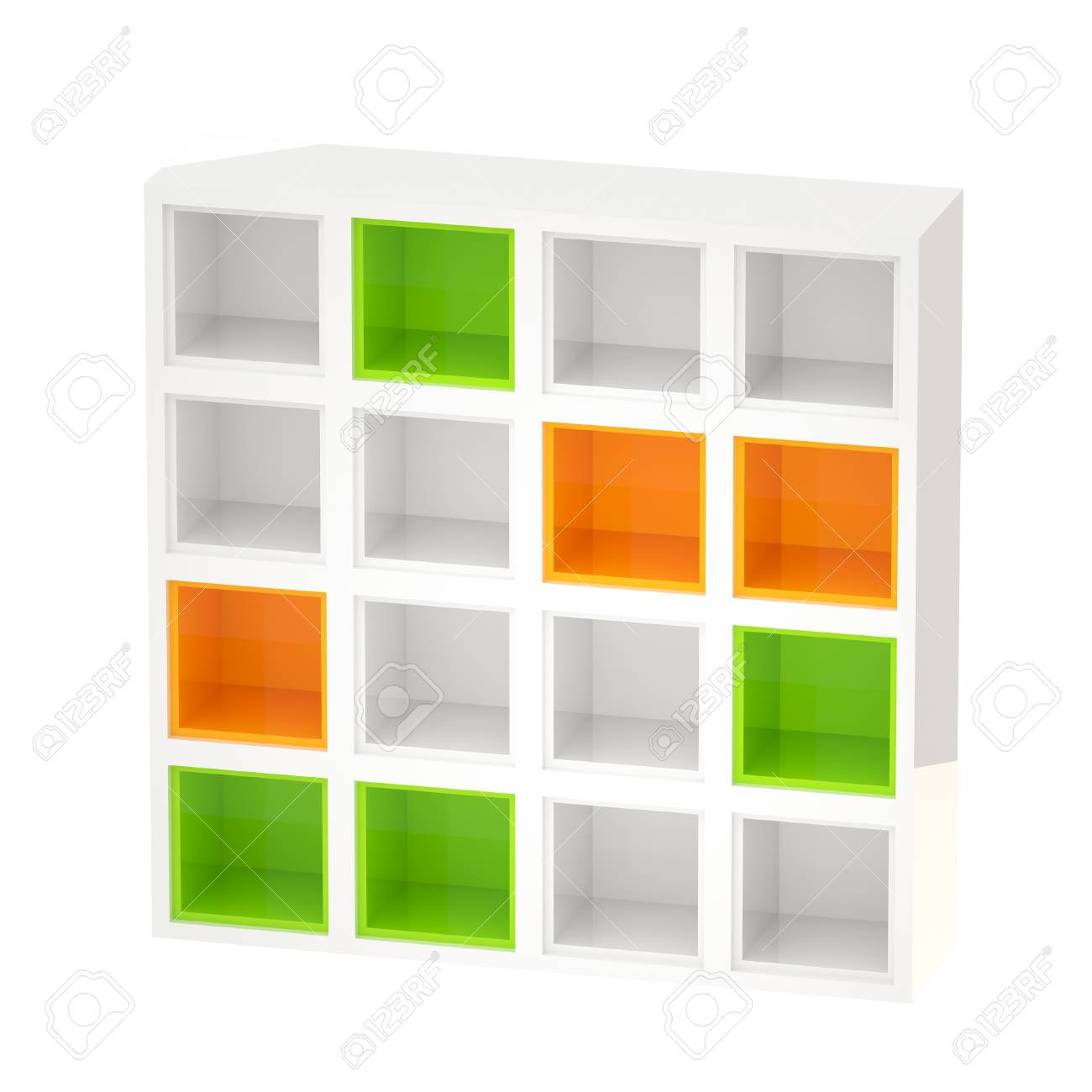 stock photo white glossy bookshelves colored cells isolated - Colored Bookshelves
