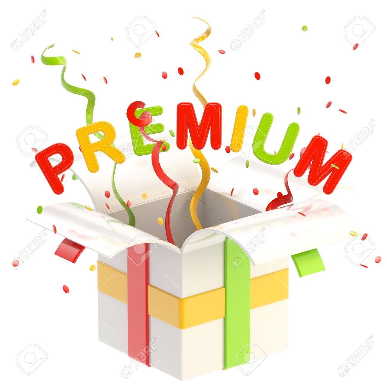 Word  premium  inside a gift box Stock Photo - 13229251