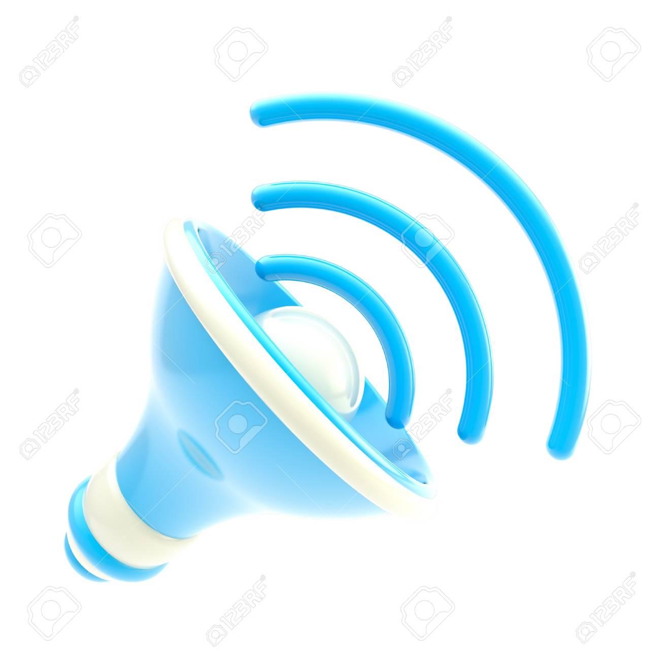 Stylized dynamic blue speaker isolated Stock Photo - 13243376
